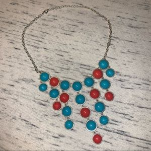 Charlotte Russe blue coral statement necklace